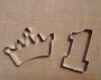Girl First Birthday Cookie Cutters, Set of 2