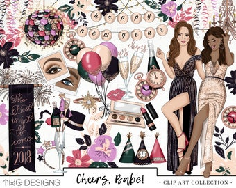 New Years Eve Fashion Girl Clip Art Watercolor Clipart PNG Party Silver Gold Glitter Glam Hand Drawn Illustration Planner Sticker Graphics
