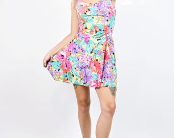 VTG 80s Funky Floral Boned Halter Sweetheart Dress Circle Skirt Mini Dress Neon Rainbow Kawaii Girly Vintage Dress