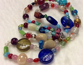 Lampwork glass beads beaded necklace