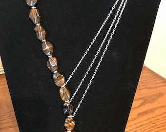 Carved Tiger Eye & Tiger Iron Necklace