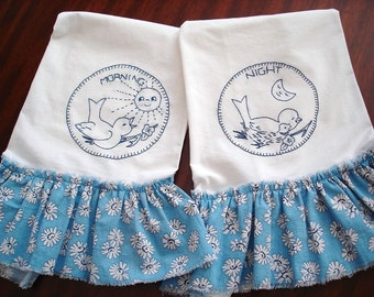 Flour Sack Tea Towels Blue Bird Hand Embroidered Ruffled Authentic Feed Sack Cottage Chic