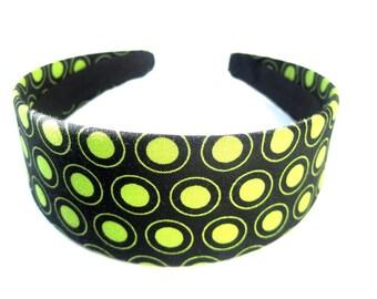 Black Green Circles Headband 2 Inch
