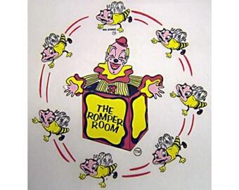 Vintage Mr. Dobee & Jack-in-the-Box Romper Room Iron On Transfer