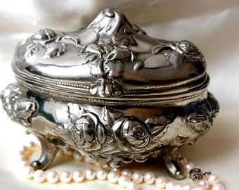 Vintage SILVER Plated Jewelry Box Casket Trinket BOX FLOWERS Roses 60s