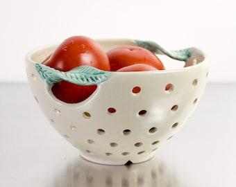 White Modern Berry Bowl Colander, large handmade ceramic bowl ooak blue green handle minimal modern pottery housewares white glaze
