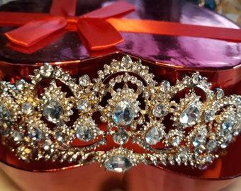 Royal crown gold plated 18 k DIADEME ROYAL Crystal Autrichien Swarovski
