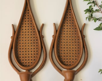 Pair Vintage Bohemian Style Resin Candle Sconces   Candle Sticks   Wall Hanging Decor   Woven Rattan Look   Candle Holder   Indoor/outdoor