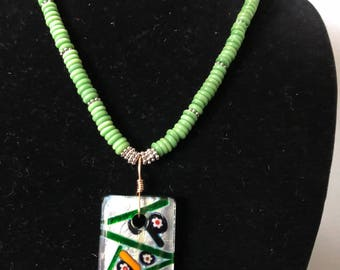 Miliflore pendant with silver and green rondele beads