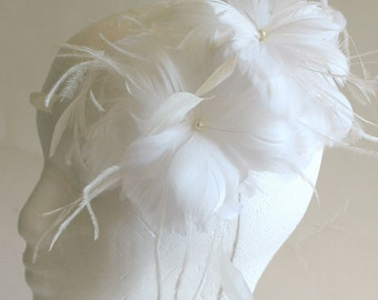 White and ivory double feather flower bridal fascinator comb -  special occasion wedding hair piece