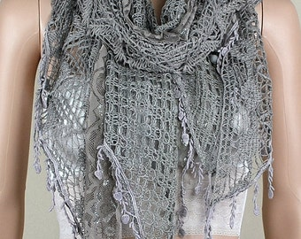 Gray hollow-out the scarf, lace stitching scarf, autumn winter warm scarf, collar