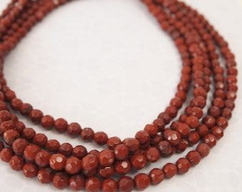 Strand Red Jasper Faceted Round Gemstone Beads Size 6mm Quantity 15 inch strand - 62 beads