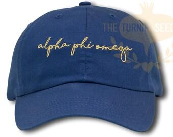 Alpha Phi Omega Handwriting Script Sorority Baseball Cap - Custom Color Hat and Embroidery