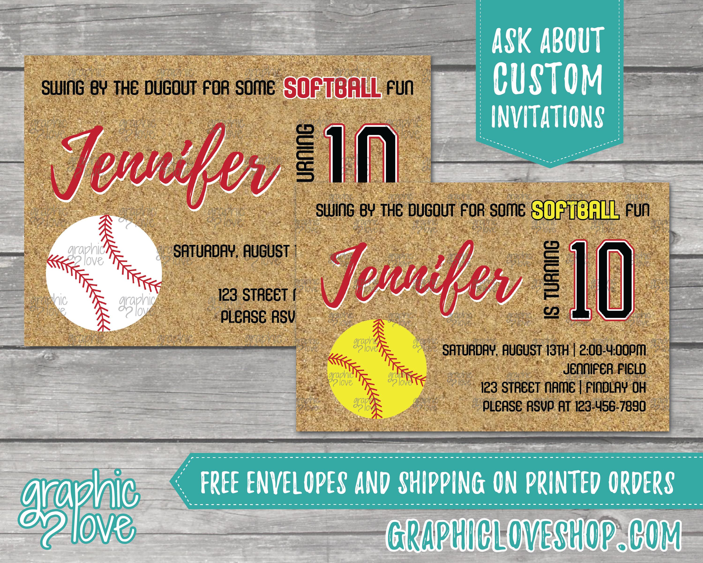 Fastpitch Softball Birthday Invitations | Yellow or White ball, Any ...