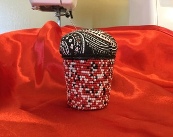 Kcup pincushion, red, black, and white paisley