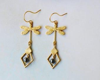 Art nouveau earrings Golden dragonflies and hematite beads