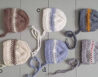 Baby stripes bonnet in blue and white/ knit stripeded hat for newborn/ photo prop for twins or triplets