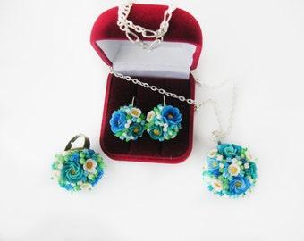 pendant, ring, earrings bouquets of flowers