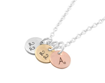 Rose Gold Initials Necklace, letters, number, mixed metal Mother's Day gifts pendant personalized gifts mom, nana, grandma, TINY DISCS