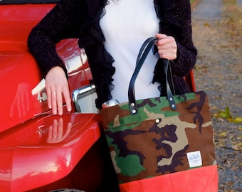 Waxed Canvas Tote Bag with Leather Handles - Large Camo & Orange Color Blocked Tote Perfect for Everyday, School, the Weekend or Market