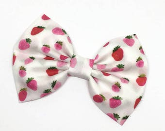 Strawberry Bow - Strawberry Hair Bow - Strawberry Headband - Berry Bow - Baby Hair Bow - Toddler Headband - Summer Fruit Bow