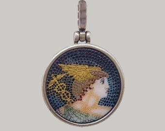 Mosaic with silver frame and back pendant with Hermes