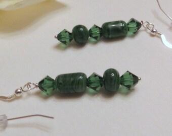 Dangle Earrings Dark Green Lampwork Beads & Dark Green Swavorski Crystals, Smokeylady54