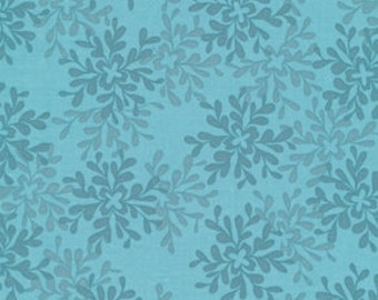 Sale Fabric Valori Wells Nest Leaves in Teal 1/2 Yard