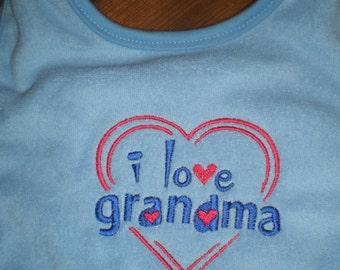 Baby Bib, Embroidered Bib, I Love Grandma Bib, Baby Accessories, Baby Boy Bib, Baby Shower, Toddler Bib, Baby Embroidery,Baby & Child Care