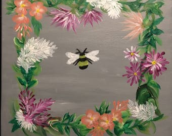 Flower Ring BumbleBee Acrylic Painting