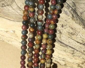 Red Creek Jasper - 6mm Round - 15 1/2 Inch Strand of 63 Beads