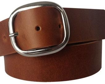 Brown Meza Leather Belt Strap - Full Grain Leather