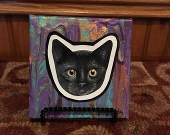 Abstract cat face painting- Mixed media- 4x4 canvas