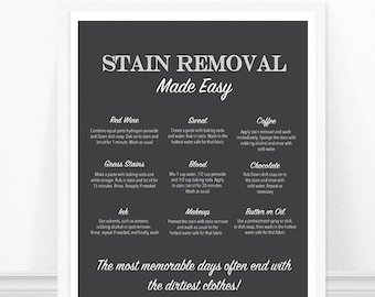 Laundry Room Art, Stain Removal Print, Laundry Room Decor, Laundry Print, Wall Art, Laundry Artwork