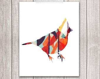 Bird Art Print - 8x10 Cardinal Bird, Cardinal Art, Bird Artwork, Bird Print, Printable Wall Art