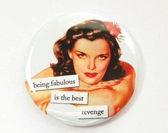 Pocket mirror, Funny mirror, glass mirror, mirror, purse mirror, Fabulous, Revenge, Retro Design, Sassy Women (3576)