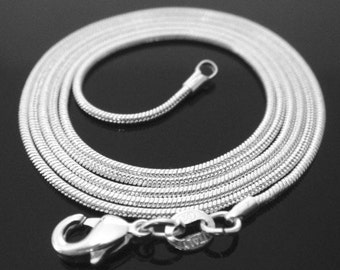 24 inch .925 sterling silver 1mm snake chain necklace Perfect for my pendants smooth simple round shiny lobster clasp