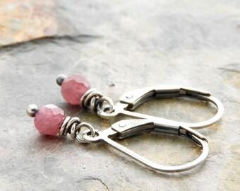 Pink Tourmaline Earrings - Sterling Silver - Petite Drop Earrings - Lightweight Pink Gemstone Earrings - Lever Back Ear Wire - #4912