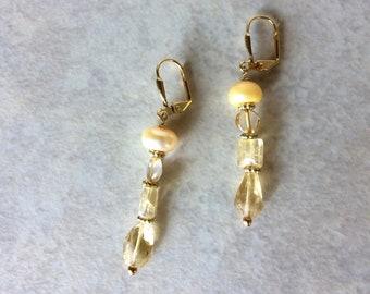 Citrine Pearl Earrings