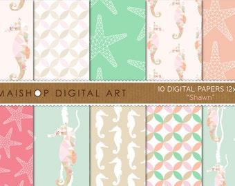 Geometric Digital Paper 'Shawn' Mint Green, Coral, Pink, Beige... Seahorse, Starfish and Curved Diamond Geometric Digital Patterns