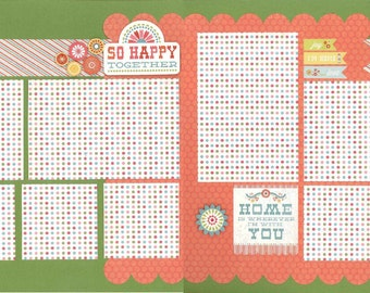 12x12 SO HAPPY TOGETHER scrapbook page kit, premade scrapbook, 12x12 premade scrapbook page, premade scrapbook page, 12x12 scrapbook layout