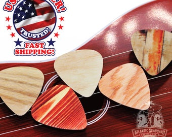 10 Simulated Wood Guitar Picks Double Sided ASSORTED DESIGNS--Create Your Own Guitar Pick Project--DIY Guitar Picks