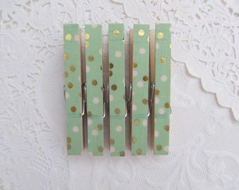 Mint Green Gold and White Polka Dots Decorative Clothes Pins