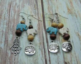 LOTUS, ELEPHANT, HAMSA Hand Mix Match Namaste Zen Earrings, Tranquility Earrings, Mantra Earrings, Buddhist Earrings, Meditation Jewelry