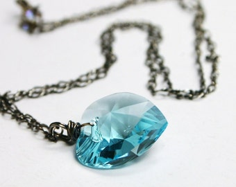Princess Blue Heart Necklace 18mm Swarovski Light Turquoise Aqua Sky Blue Oxidized Sterling Silver Love Gifts Under 30