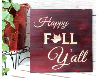 Happy Fall Y'all, Fall Wood Signs, Fall Decor, Rustic, Thanksgiving Signs, Carved Wood Signs, Also In Set of Three