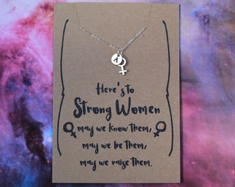 Feminist necklace venus symbol necklace silver plated necklace with the female symbol gift for a feminist strong female necklace