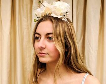 Romantic White Rose headdress