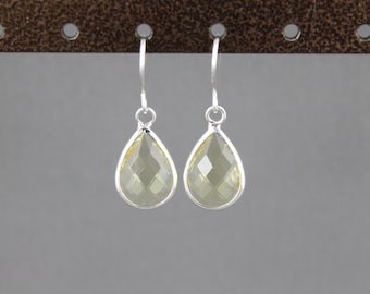 Light Yellow glass earrings faceted teardrop pendant silver dangle lightweight small dainty wedding jewelry bridesmaid gift