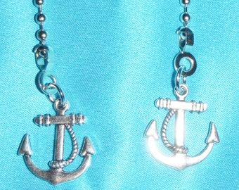 Set of Two - Sailor Anchor Metal - Free Shipping - Ceiling Fan Pull Chains